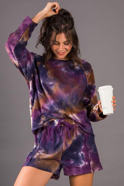 French Terry Short, Purple Dye