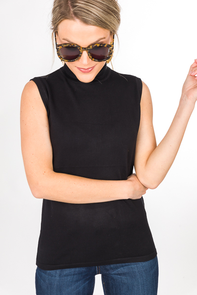 Sleeveless Solid Turtleneck, Black