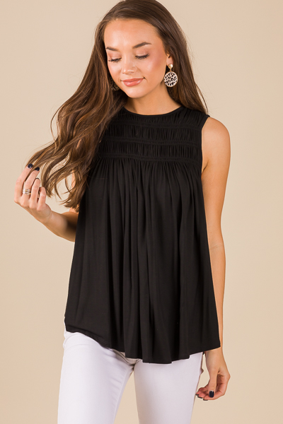 Smocking Stretch Tank, Black