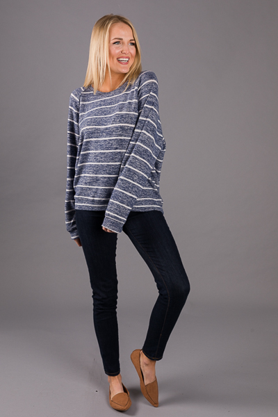 Soft Banded Stripe Top, Navy