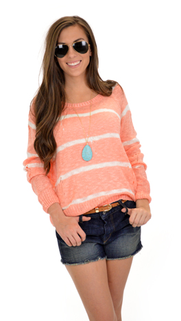 Slouchy Stripes Sweater, Coral