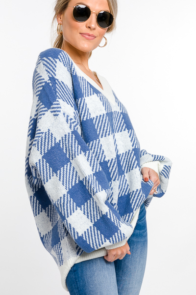 Plaid Squares Sweater, Blue