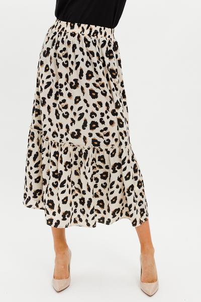 Ellen Leopard Midi Skirt