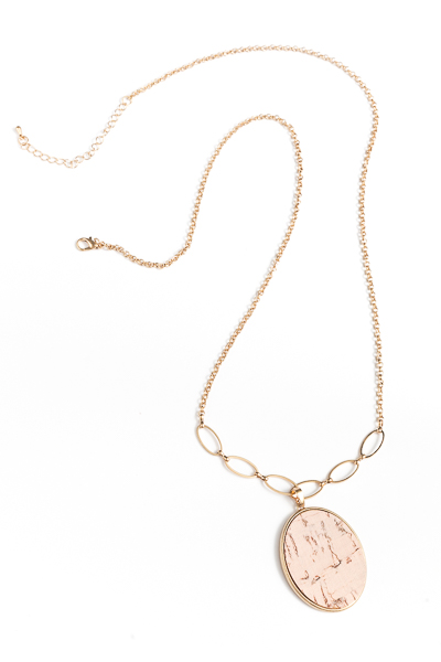 Cork Oval Long Necklace, Pink