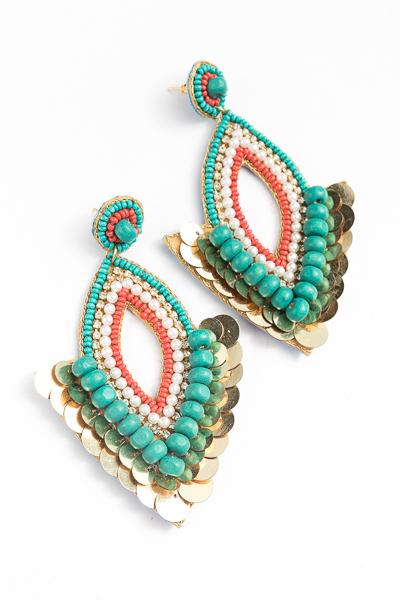 Marquise Multi Fan Earring, Turquoise