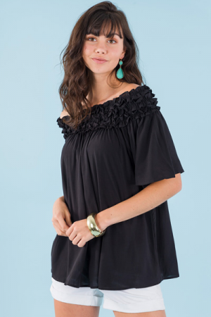 Ring Around the Ruffle Top, Black