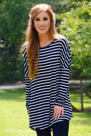 Sanders Jersey Tunic, Black Stripes