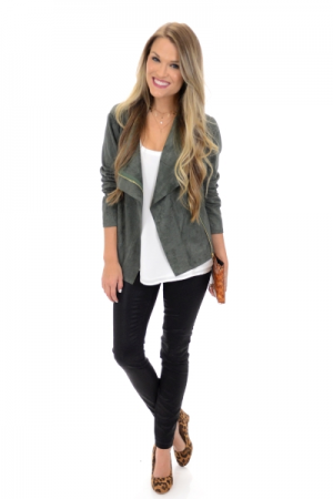 XO Suede Jacket, Green