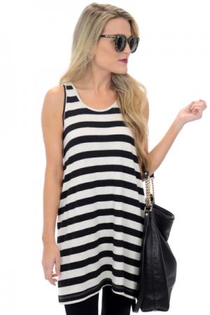 Heather Stripes Tank Dress, Black