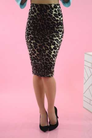 Stretchy Pencil Skirt, Leopard