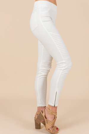 Pull On Moto Jeggings, Off White