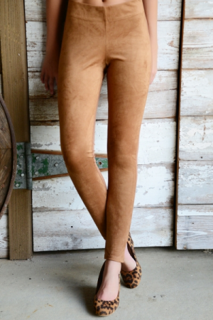 Cooper Suede Leggings, Tan