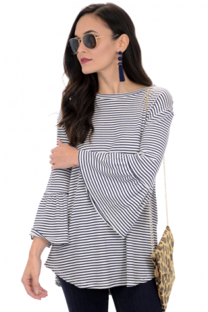 Bell Sleeve Striped Tunic, Navy