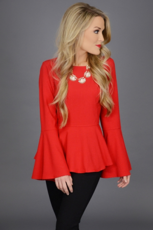 Party Peplum Top, Red