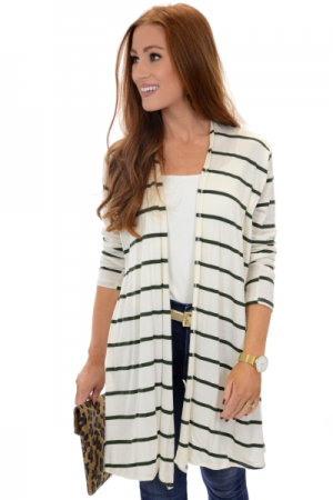 Koda Cardigan, Green Stripe