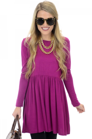 Long Sleeve Babydoll Top, Magenta