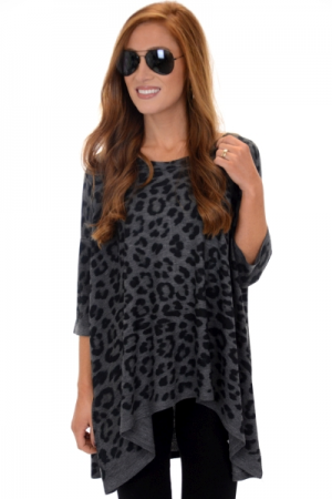 Slouchy Long Sleeve Leopard Tee, Charcoal