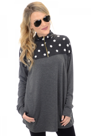 Polka Dot Pullover, Black