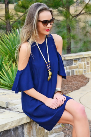 Cora Cold Shoulder Dress, Navy