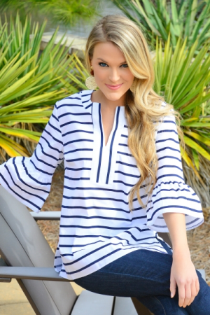 Shay Tunic, Navy Stripe