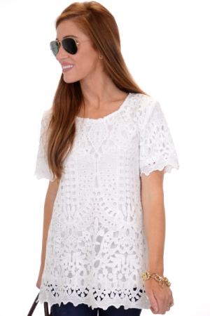 Alessandra Lace Top, Off White