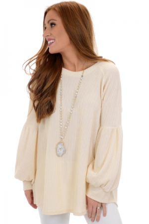 Ribbed Bubble Sleeve Top, Cream