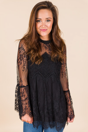 Florence Lace Top, Black
