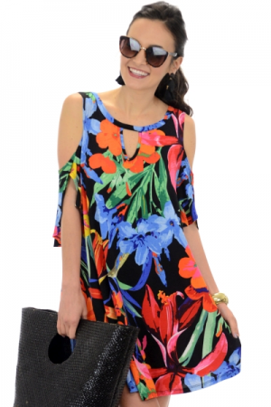 Pop of Tropic Frock, Black