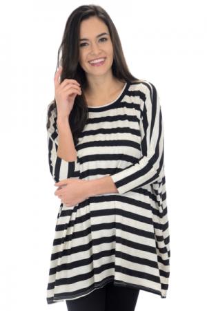 Slouchy Stripes Tunic, Black