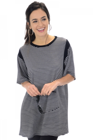 Serenity Striped Tunic, Black