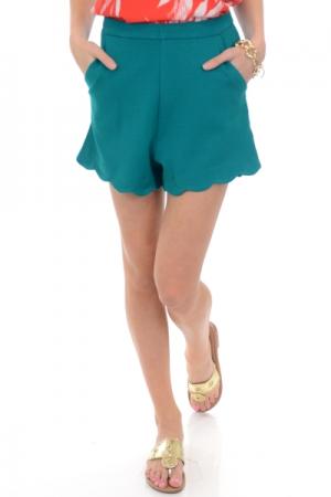 Structured Scallop Shorts, Jade
