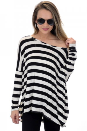 Leah Striped Tunic, Black