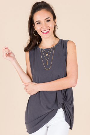 Side Knot Tank, Charcoal