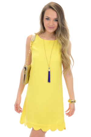 Special Event Dress Sleeveless Scallop, Yellow