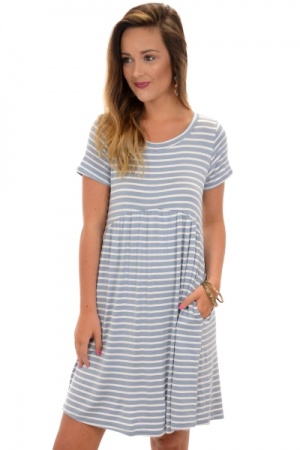 Pocket Babydoll Dress, Blue