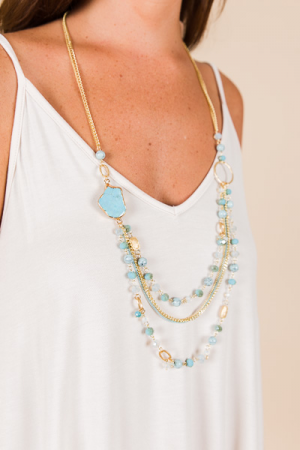 Love in Layers Necklace, Turquoise