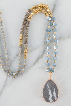 Spunky Stone Necklace, Gray
