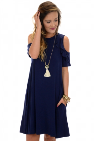 Jenny Cold Shoulder Dress, Navy