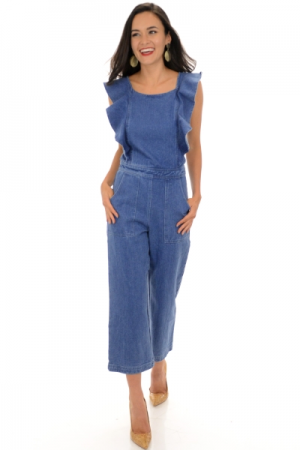 Ruffled Denim Jumpsuit