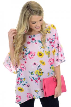 Larkin Top, Pink Floral