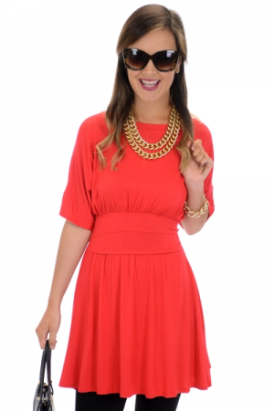 Waisted Tunic, Red