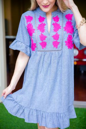 Pinstripe Peony Dress