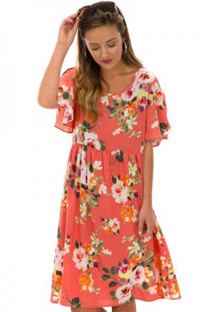 Flutter Floral Dress, Coral