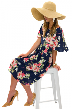Flutter Floral Dress, Navy
