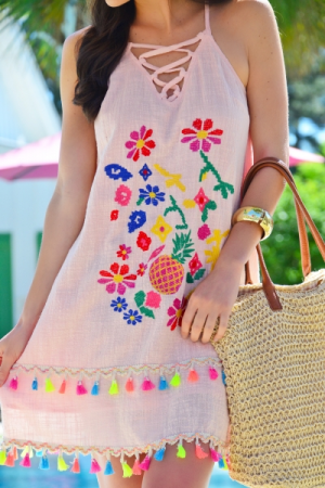 Peachy Embroidered Dress