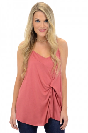 Twisted Knit Cami, Marsala