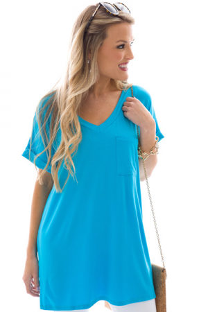 Jersey Pocket Tee, Blue