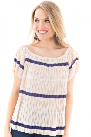 Pleated Stripes Top