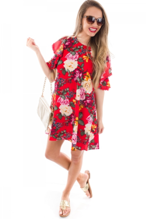 Rose Print Cold Shoulder Dress