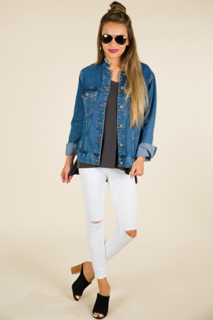 Mandarin Collar Denim Jacket